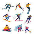 skiing and snowboarding winter sports skating vector image
