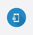 smartphone lock Flat Blue Simple Icon with long vector image