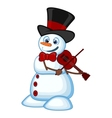Snowman with hat and bow ties playing the violin vector image vector image