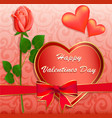 stock valentines day greeting card with rose vector image vector image