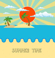 Summer beach scene sun clouds in the sky palms vector image