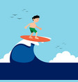 surfer boy riding a wave in summer with sea vector image