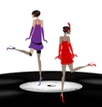 two abstract girls dancing vector image vector image