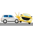 Two cars faced on road vector image vector image