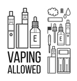 Vaping allowed icons vector image vector image