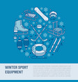 winter sports banner equipment rent at ski resort vector image vector image