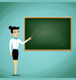 woman teacher show pointer on blackboard back to vector image