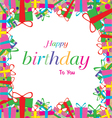 Happy birthday with colorful gift isolated on vector image
