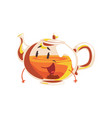 funny glass teapot cartoon character element for vector image