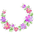 wreath of flowers in watercolor style vector image