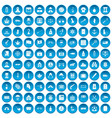 100 offence icons set blue vector image vector image