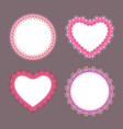 4 cute lace border heart and round labels vector image