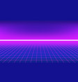 80s style background perspective grid with neon h vector image
