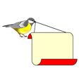 A cute bird titmouse with a big blank paper vector image vector image