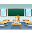 A girl writing with an empty board at the back vector image vector image