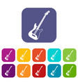 acoustic guitar icons set flat vector image vector image