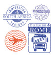 airplane and bus travel stamps south africa vector image vector image