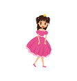 beautiful little princess in a short pink dress vector image