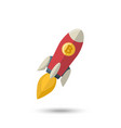 bitcoin icon rocket ship vector image