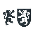 black heraldic rampant lion 02 vector image vector image