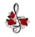 black musical key with red roses vector image