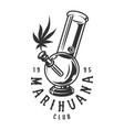 cannabis monochrome emblem vector image