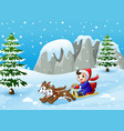 cartoon boy riding sled on the downhill pulled by vector image vector image