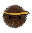 character angry with bandana kawaii style vector image