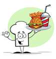 Chef Hat Guy Carrying Fast Food vector image vector image