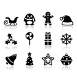 Christmas black icons with shadow set vector image vector image