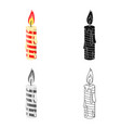 christmas candle single icon in cartoonblackflat vector image vector image