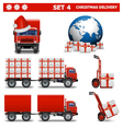 Christmas Delivery Set 4 vector image vector image