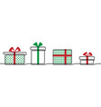 christmas present gift box border one vector image