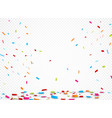 colorful ribbon and confetti vector image vector image