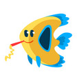 cute fish with horn blower little sea creature vector image vector image