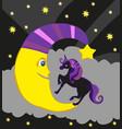 cute magic unicorn and moon vector image