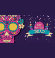 day dead mexican flower skull candle banner vector image vector image
