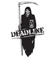 deadline concept black and white cartoon vector image vector image
