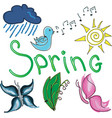 drawn colored bird with word spring vector image