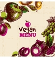 Eco food vegan menu background Watercolor and vector image vector image