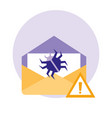 envelope mail with attack virus vector image