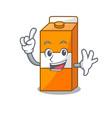 finger package juice mascot cartoon vector image vector image