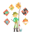 Fisherman With Fishing Equipment Icons Around vector image vector image