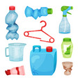 flat set of plastic waste crumpled bottles vector image vector image