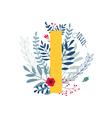 floral alphabet letter i vector image vector image
