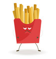 french fries in red cardboard box with angry face vector image vector image