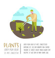 gardening cartoons characters with plants and tree vector image vector image