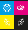 gear sign white icon with isometric vector image vector image