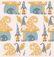 gnomes and cute house in a seamless pattern design vector image vector image