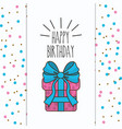 happy birthday gift present with ribbon decoration vector image vector image